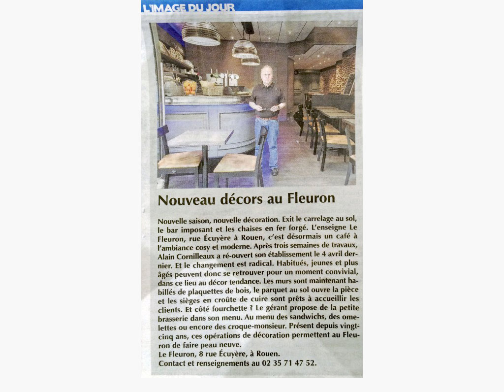 Article de presse : agencement du bar